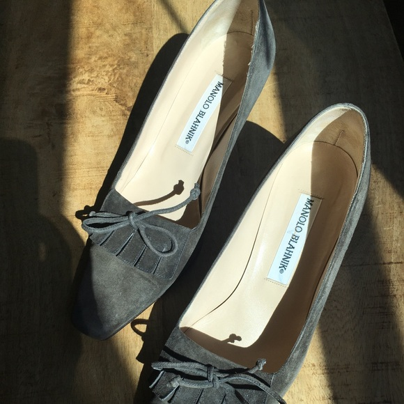 Manolo Blahnik Shoes - Grey Manolo Blahnik Kitten Heels Final Sale
